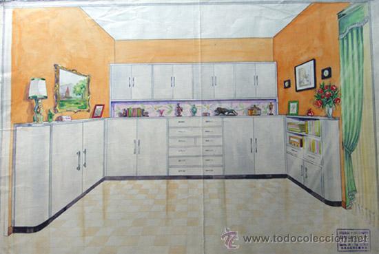 dibujo a lapiz y acuarela / diseño cocina / a.m - Comprar Acuarelas ...