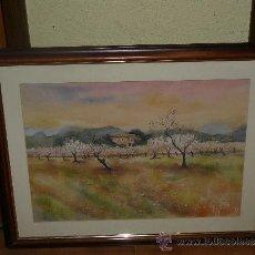 Arte: ACUARELA - J. ARROYO - PAISAJE CASA RURAL CON ALMENDROS.. Lote 38782516