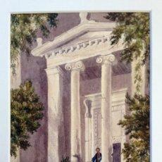Arte: EXQUISITA ACUARELA DE GRAN DETALLE Y MINUCIOSIDAD, CIRCA 1850, ENTRADA DE UN TEMPLO. Lote 39070956