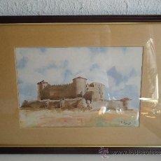 Arte: ACUARELA DEL PINTOR MURCIANO FALGAS. CASTILLO POR JOSÉ MARÍA FALGAS. Lote 39150926