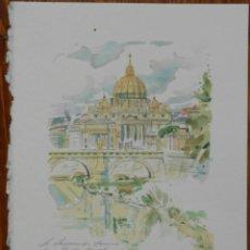 Arte: BELLA ACUARELA - VISTA DE ROMA - FIRMADA Y DATADA. Lote 39351225