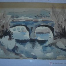 Arte: ACUARELA - FIRMADA ROIG - PAISAJE CON PUENTE. Lote 39526083