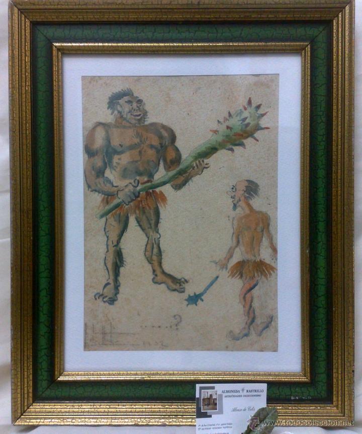 Arte: AÑO 1902. FIRMADO. CARICATURA . ACUARELA/PAPEL. - Foto 2 - 29000467