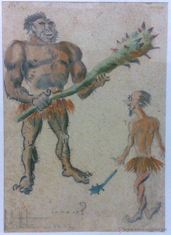 Arte: AÑO 1902. FIRMADO. CARICATURA . ACUARELA/PAPEL. - Foto 3 - 29000467