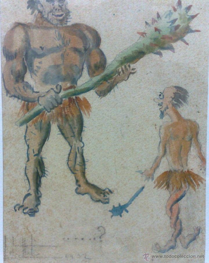 Arte: AÑO 1902. FIRMADO. CARICATURA . ACUARELA/PAPEL. - Foto 4 - 29000467