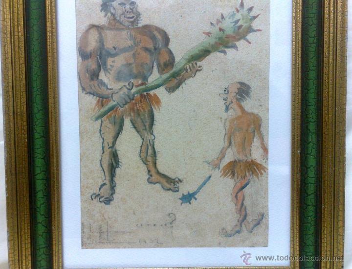 Arte: AÑO 1902. FIRMADO. CARICATURA . ACUARELA/PAPEL. - Foto 6 - 29000467
