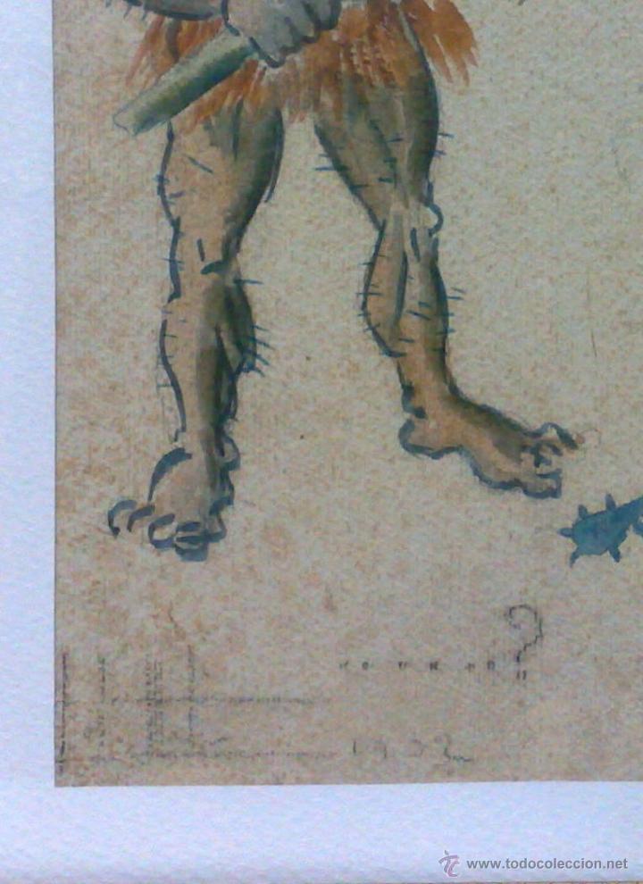 Arte: AÑO 1902. FIRMADO. CARICATURA . ACUARELA/PAPEL. - Foto 7 - 29000467