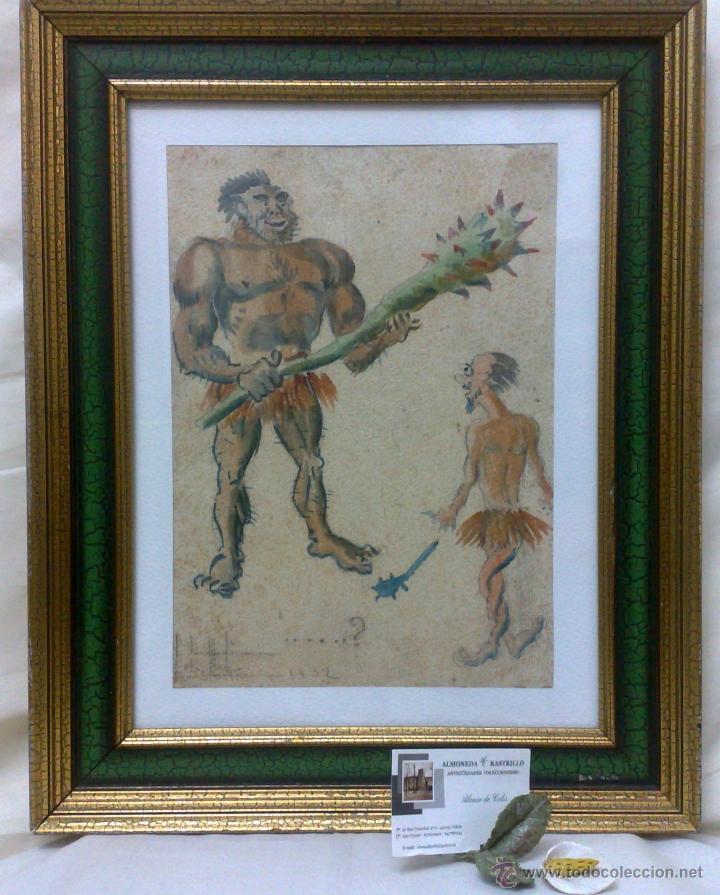 AÑO 1902. FIRMADO. CARICATURA . ACUARELA/PAPEL. (Arte - Acuarelas - Contemporáneas siglo XX)