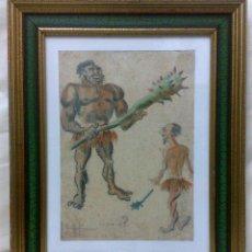Arte: AÑO 1902. FIRMADO. CARICATURA . ACUARELA/PAPEL.. Lote 29000467