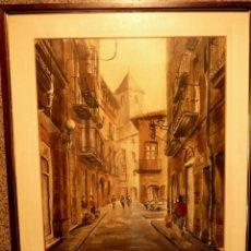 Arte: ACUARELA DE XAVIER SANAGUSTÍN ESPERANZA (HUESCA 1938)CALLE CASTELL DE SOLSONA.78. Lote 39795750