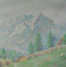 Arte: BELLA ACUARELA FIRMADA POR ERNST NEUMANN - PAISAJE ALPINO - ARTISTA REFERENCIADO. Lote 39833809