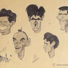 Arte: FERNANDO VINYES (ATRIB). AQUARELA ORIGINAL. 6 CARICATURAS DE TOREROS.CA. 1970. 70 X 50 CM.. Lote 40154267