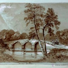 Art: MARAVILLOSO PAISAJE EN SEPIA DE PRINCIPIOS DEL SIGLO XIX, CIRCA 1820, AVON BRIDGE, CALIDAD. Lote 40266287