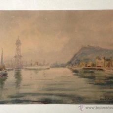 Arte: ACUARELA PUERTO BARCELONA, ENMARCADA, FIRMADO DAVID MERCADE 1951. Lote 40165324
