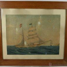 Art: E4-022. JOSE SABATER ROCA - POLACRA-GOLETA - ACUARELA SOBRE PAPEL - SIGLO XIX. Lote 40883490