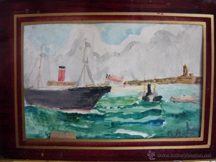 Arte: PINTURA, PRECIOSA ACUARELA SOBRE CARTÓN, BAHÍA DE MÁLAGA, FIRMADA Y FECHADA 1902 - Foto 2 - 40970394