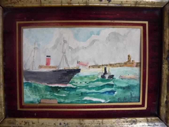 Arte: PINTURA, PRECIOSA ACUARELA SOBRE CARTÓN, BAHÍA DE MÁLAGA, FIRMADA Y FECHADA 1902 - Foto 4 - 40970394