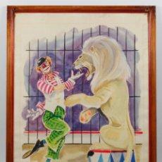 Arte: LUÍS ALFONSO NOBLOM. PALLASO CON LEÓN, ACUARELA ENMARCADA Y FIRMADA, MARCO: 38X47 CM.. Lote 40982790