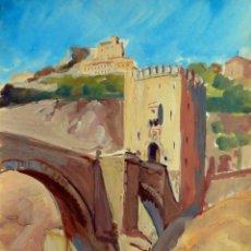 Arte: LOUIS AUBRÉE (FRANCIA , 1906-1991) - - TOLEDO: PUENTE DE ALCANTARA. Lote 40991969