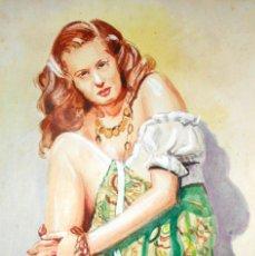 Arte: BELLA ACUARELA - FIRMADA - RETRATO DE PIN-UP. Lote 41222217