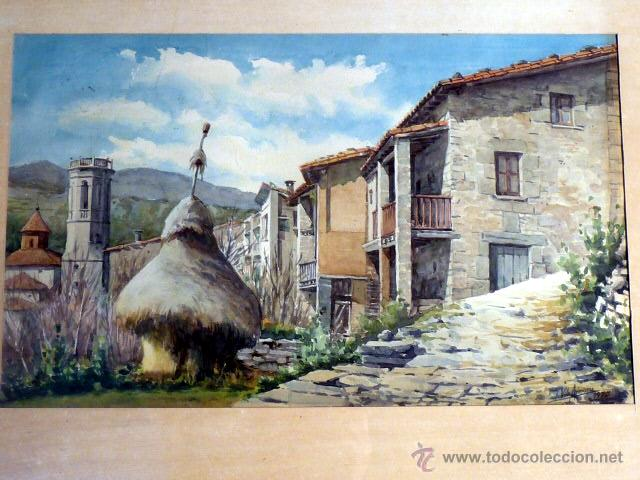 Arte: acuarela de Joan Vila Arimany.1970.sant miquel de rupit. - Foto 2 - 41252999