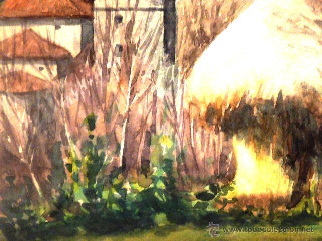 Arte: acuarela de Joan Vila Arimany.1970.sant miquel de rupit. - Foto 3 - 41252999