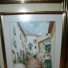 Arte: ACUARELA - FIRMADA VIÑAS - PAISAJE URBANO. Lote 41305062