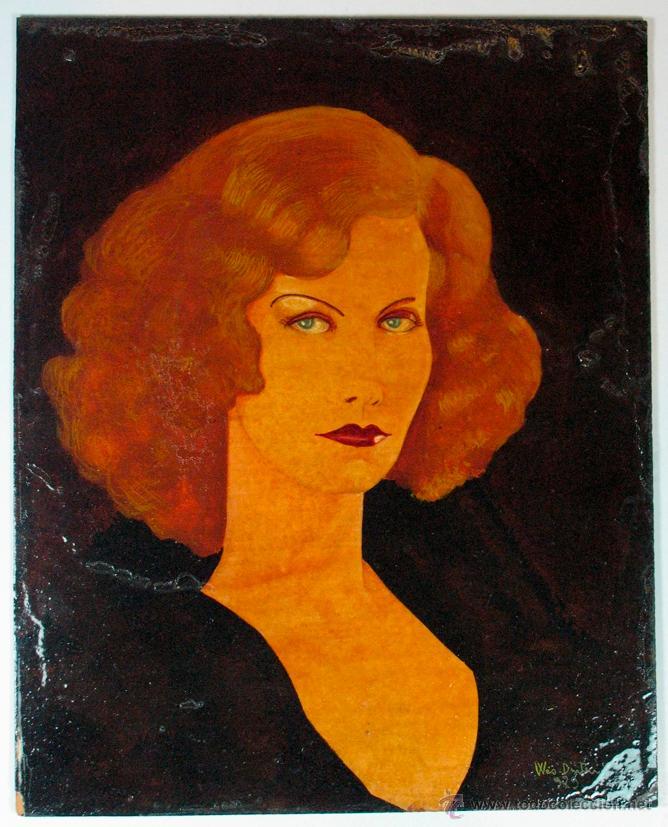 RETRATO FEMENINO FIRMADO WES DINTEL 1929 AVILES ASTURIAS (Arte - Acuarelas - Contemporáneas siglo XX)