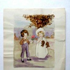 Arte: BONITA ACUARELA ORIGINAL, FIRMADA Y FECHADA QUEENIE SCOTT 1919, LOVE´S GIFT, ESCUELA INGLESA. Lote 41511312