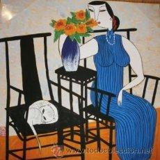Arte: MUJER CON JARRÓN Y GATO, ACUARELA ORIGINAL, 36 X 36 CMS. Lote 66003605