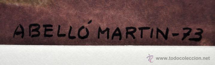 Arte: JOAN ABELLÓ MARTÍN ( BCN 1920 - 2007 ) ACUARELA SOBRE PAPEL FECHADA EN EL AÑO 1973 - Foto 7 - 41583456
