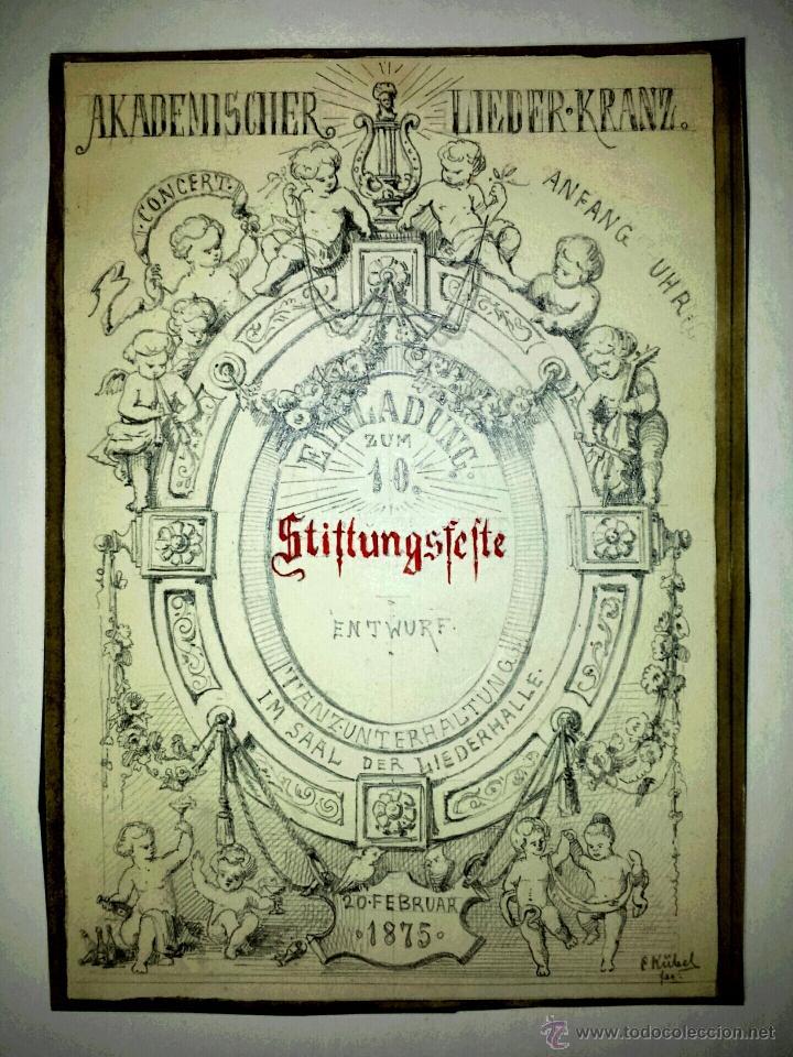 MARAVILLOSA ESCENA CON QUERUBINES FIRMADA Y FECHADA E. KÜBEL, 1875. EXCELENTE CALIDAD (Arte - Acuarelas - Modernas siglo XIX)