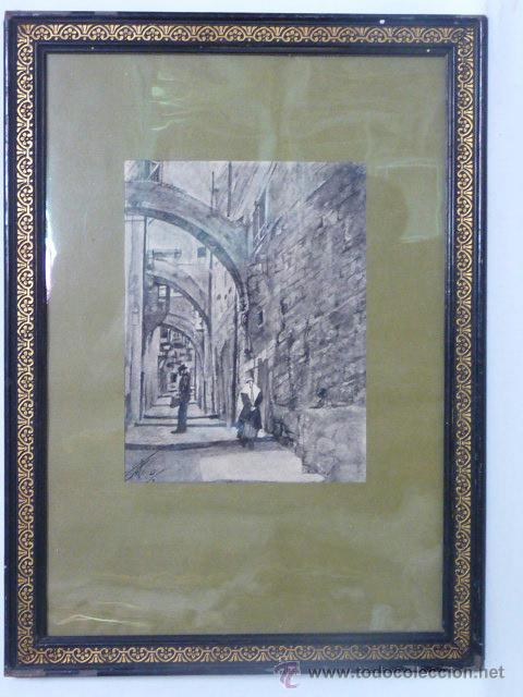 ANTIGUO DIBUJO EN ACUARELA / TINTA CHINA (Arte - Acuarelas - Modernas siglo XIX)