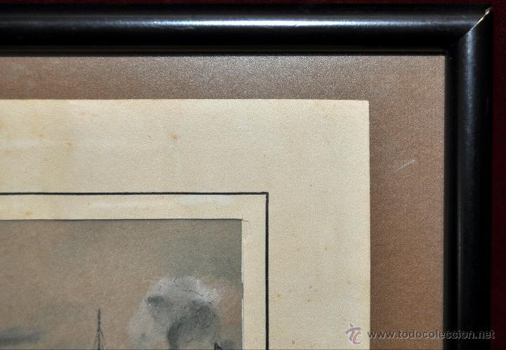 Arte: ACUARELA SOBRE PAPEL DE AUTOR ILEGIBLE DE APROXIMADAMENTE AÑOS 40. MARINA CON BARCOS - Foto 5 - 41733338