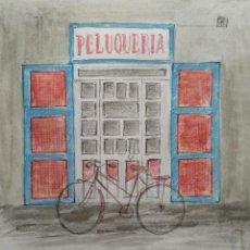 Arte: INTERESANTE Y BONITA ESCENA URBANA, LA PELUQUERIA. Lote 41802034