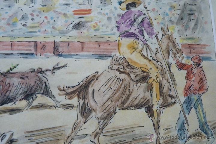 Arte: TOROS, TAUROMAQUIA, MAGISTRAL ACUARELA TAURINA, ANTONIO CASERO - Foto 5 - 41991746