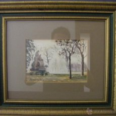 Arte: ACUARELA DE VÁZQUEZ CASTELLS, ESCULTURA DE LA ALAMEDA, GRUPO PONT DE FUSTA, VALENCIA AÑOS 60. Lote 42168083