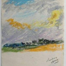 Arte: BRILLANTE PAISAJE IMPRESIONISTA CON MARAVILLOSOS COLORES, POSIBLEMENTE FINALES DEL XIX. Lote 42177646