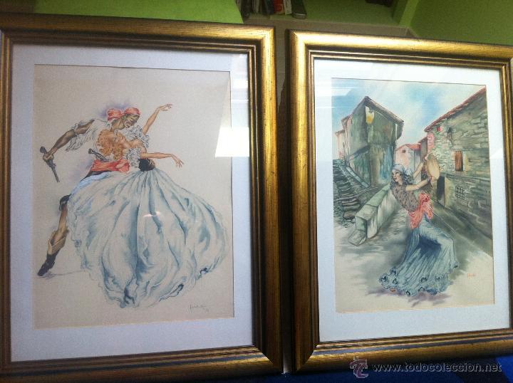 Arte: Impresionante pareja de acuarelas de los años 50. Firmado por A. Leal ( Amable Leal ). - Foto 3 - 42235982