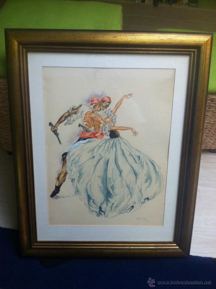 Arte: Impresionante pareja de acuarelas de los años 50. Firmado por A. Leal ( Amable Leal ). - Foto 4 - 42235982