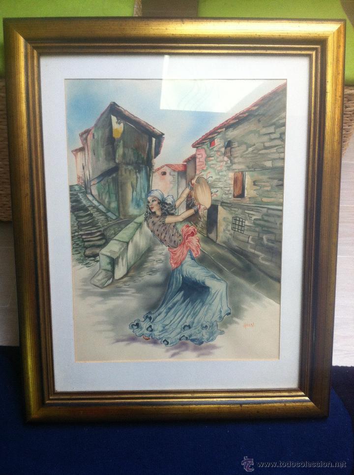Arte: Impresionante pareja de acuarelas de los años 50. Firmado por A. Leal ( Amable Leal ). - Foto 5 - 42235982