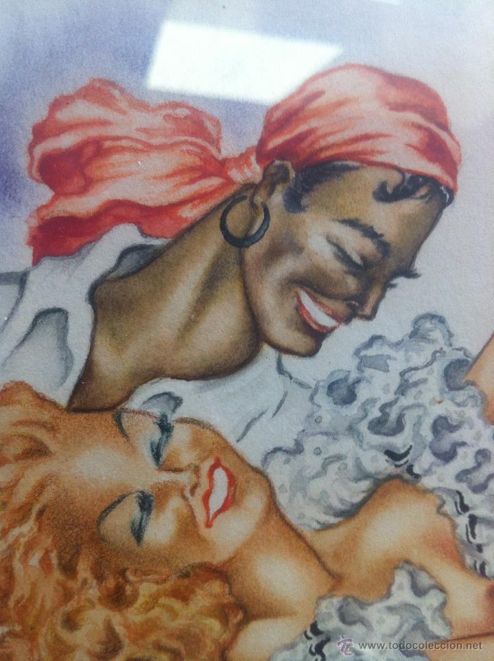 Arte: Impresionante pareja de acuarelas de los años 50. Firmado por A. Leal ( Amable Leal ). - Foto 10 - 42235982