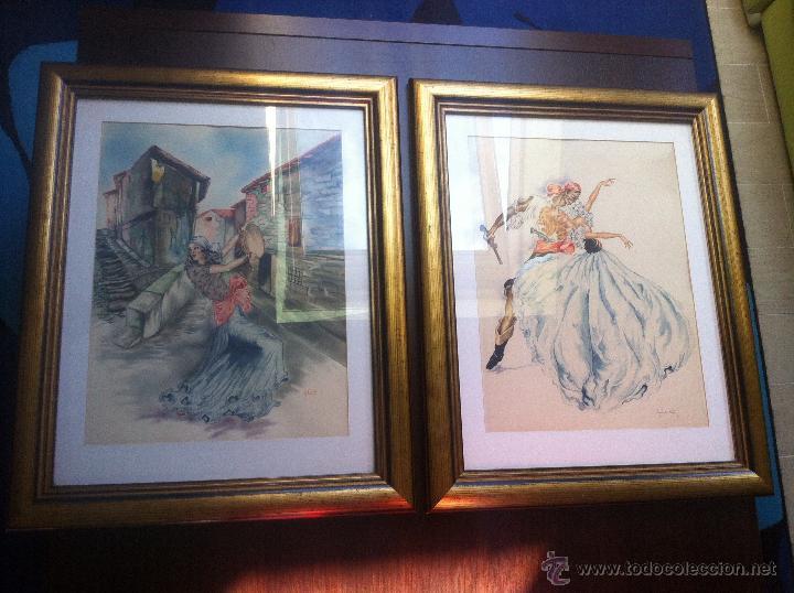 Arte: Impresionante pareja de acuarelas de los años 50. Firmado por A. Leal ( Amable Leal ). - Foto 14 - 42235982