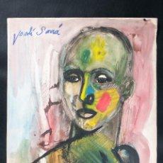 Arte: DIBUJO DE BUSTO EN ACUARELA, FIRMADO JORDI SARRA. Lote 42257472