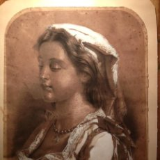 Arte: ORIGINAL BELLISSIMO RETRATO MUJER, TECNICA MIXTA ACUARELA LAPIZ, FIRMADA ANDRES FRANCOLI, 1889. Lote 42301614