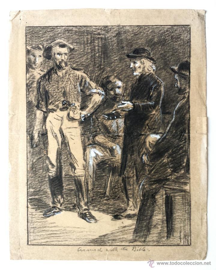 Arte: Maravillosa escena con excelente trazo, finales del siglo XIX, firmado A. W. Cooper - Foto 2 - 42323084
