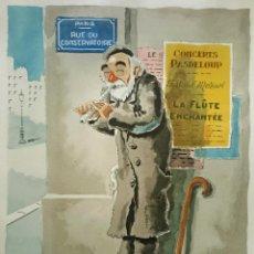 Arte: PRECIOSA LITOGRAFIA (COLOREADA A MANO) PARISINA DE UN POBRE FIRMADA ANDRE-MARIE D´ARCY. Lote 42419254