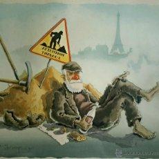 Arte: PRECIOSA LITOGRAFIA (COLOREADA A MANO) DE UN POBRE DE PARIS, FIRMADA ANDRE-MARIE D´ARCY. Lote 42421253