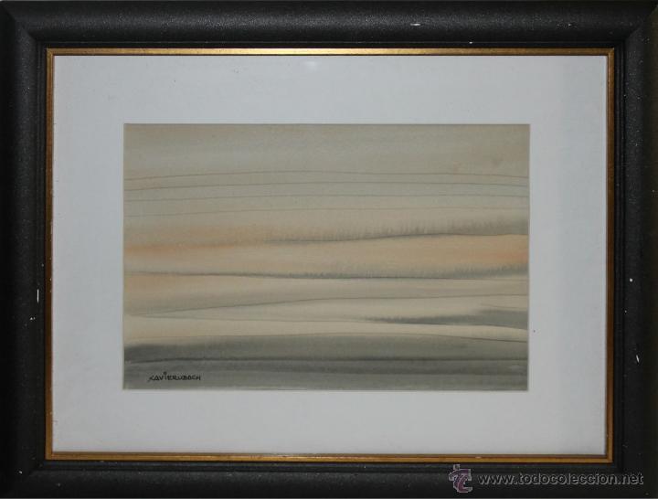 XAVIER UBACH LINARES (1933) - EL CLAR PAÏS (HOSPITALET DE LINFANT) - ACUARELA - MED.: 30 X 21 CM. (Arte - Acuarelas - Contemporáneas siglo XX)