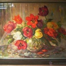 Arte: S. NAVRATIL.- ACUARELA S/ CARTON -BODEGON FLORES- FDO. MED. 60 X 45 CM.ENMARCADO Y CRISTAL.66 X 51. Lote 42598570